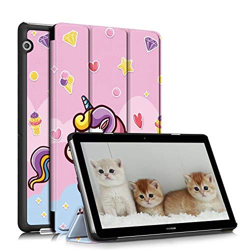 TOPCASE Funda Compatible con Huawei MediaPad T3 10,Ultra Delgado PU Funda de Piel Case con Soporte Función para Huawei MediaPad T3 10 9.6 Pulgadas,Unicornio