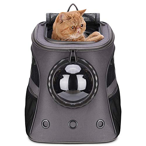 LOLLIMEOW Pet Carrier Backpack, Bubble Backpack Carrier for Cats and Puppies,Airline-Approved (Medium, Grey)