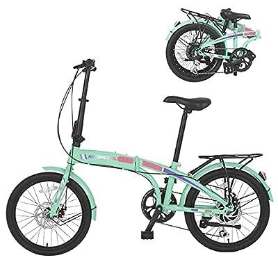 MOONCOOL Folding Bikes 7 Speed 20 Inch, Portable Folding Bicycles Lightweight Disc Brakes Foldable Bike for Adults, Women, Men.
