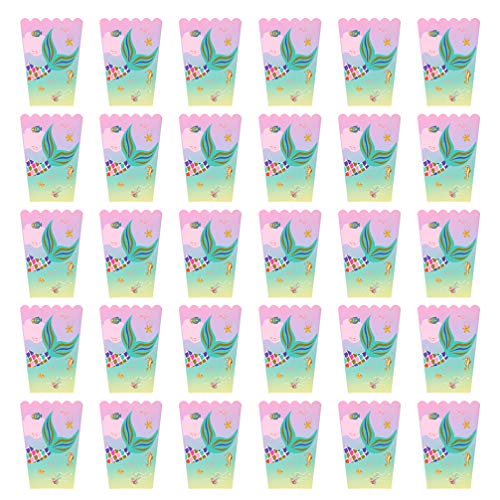 Great Price! PRETYZOOM 30pcs Popcorn Box Mermaid Pattern Stylish Portable Snack Container Popcorn Ca...