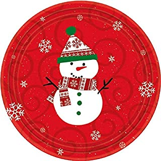 Christmas Snowman Round Red Plates, 12 Ct. | Party Tableware
