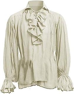 Keepmore Maglietta Rinascimentale da Uomo Manica Lunga Top Tunica Medievale Costume Pirata Camicia Ampia