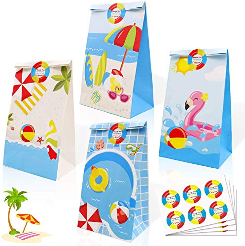 24 Pack Beach Ball Party Candy Favor Bags with Thank You Stickers, Pool Party Goody Gift Treat Bags for Beach Happy Birthday Baby Shower Summer Holiday Decoration