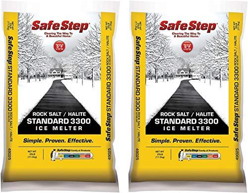 Safe Step Rock Salt Ice Melter Sodium Chloride (Rock Salt) Melts Ice Down to 5 F   -15 C 25 Lbs, 2 Pack (New Version)