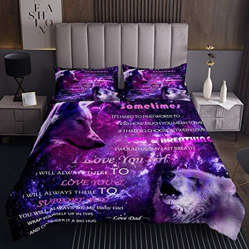 Wolf Steppdecke Galaxis Safari Wild Tagesdecke für Kinder Paar Eltern Kind Liebe Wolf Bettüberwurf 220x240cm Wohndecke Tagesdecke Weltraum Tiermuster 3St