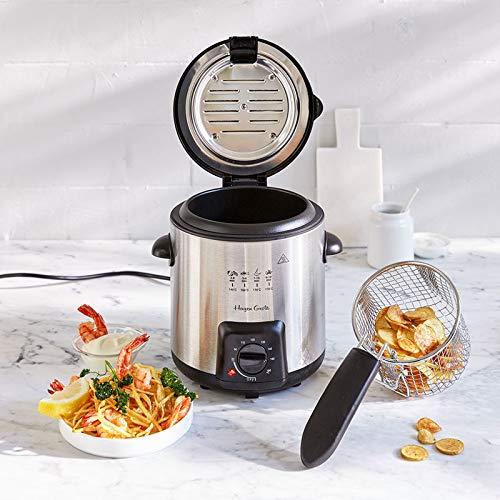 Hagen Grote Mini-Fritteuse, für 1 Liter Öl, ideal für kleine Mengen Pommes, Gemüse, Meeresfrüchte und Fisch, auch als Elektro-Fondue nutzbar