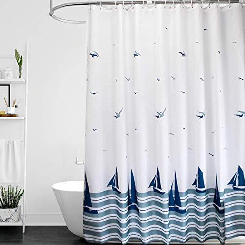 Benrise Cortina de ducha con ganchos, antimoho, cortina blanca para baño, cortina de ducha, barco azul náutico, con 16 ganchos gruesos tipo C