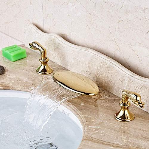 Caño de cascada Grifo de lavabo de baño Grifo mezclador de lavabo de tocador generalizado Acabado dorado