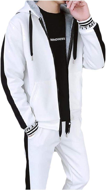 8cdfb9304 Doanpa Mens Slim Fit Fleece Hoodie Jackets Jackets Jackets Full-Zip Thicken Tracksuit  Set Beige S 89e169