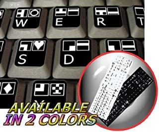 4Keyboard Commodore 64 Non-Transparent Keyboard Stickers ON Black Background