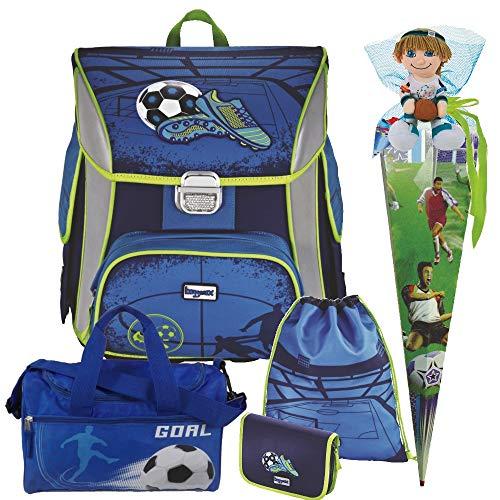 Soccer Blue - Fußball Football - Leicht-Schulranzen Set Ranzenset Baggymax SIMY Hama 8tlg. mit SCHULSPORTTASCHE, SCHULTÜTE und SCHULTÜTENSCHMUCK-Set