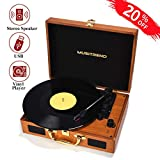 Musitrend Record Player Portable Suitcase Turntable with Built-in Speakers, USB/SD Recorder, Rechargable Battery, Headphone Jack, RCA line Out, Brown