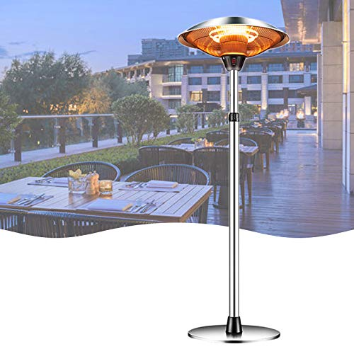 Outdoor Heaters for Patio Electric Only, Garage Infrared Heater Halogen Fire Tube Heater Adjustable Power Standing Patio Heater For Garden Party Balcony, Weatherproof, 1500w (Economic transport)