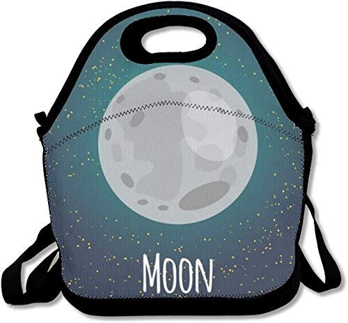 Cute Moon Planet Bolsa de almuerzo con aislamiento personalizado Bento Box Picnic Cooler Bolso portátil Bolsa de almuerzo con correa ajustable para el hombro para mujeres, niñas, hombres, niños