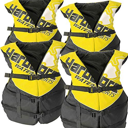 Hardcore Water Sports 4 Pack Deluxe Adult Life Jacket PFD Type III Coast Guard Ski Vest Yellow