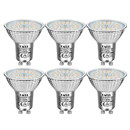 EACLL GU10 LED 7W 2700K Dimmbar Leuchtmittel Warmweiss 595 Lumen. Stufenloses Kontinuierliches Dimmen mit Dimmer. 3-Stufig Dimmen mit Normaler Schalter, 3 Helligkeit. PAR16 Reflektor Lampen, 6 Pack