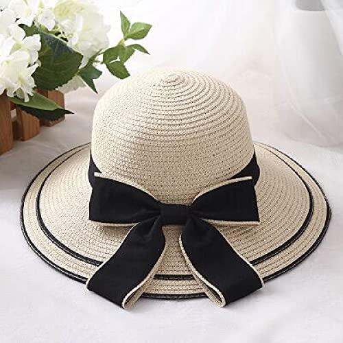 Sombrero para el Sol Sombrero De Sol A La Moda, Sombreros De Verano con Lazo Negro Grande para Mujer, Sombrero De Paja Plegable, Visera, Sombrero De Playa De ala Ancha, Sombrero De Playa Par