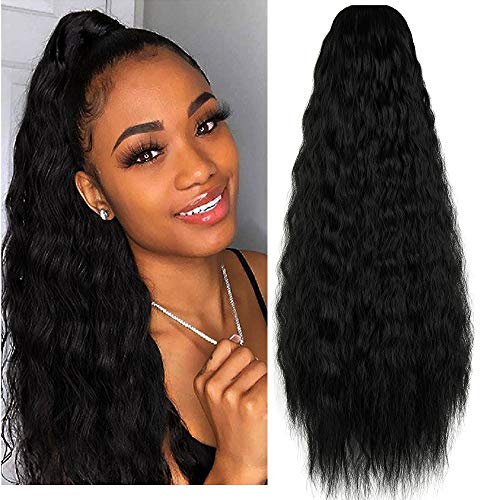 KOODER Long Curly Drawstring Ponytail Wig For Women 22 inch Clip in Wavy Natural Ponytail Extension for Womens Wrap Around Pony Tail (Dark Black-1b#)