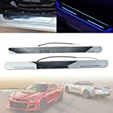 Newsmarts Car Stainless Steel Door Sill Protector Cover with Camaro LED Courtesy Light for Chevrolet Camaro 2-Door 2012-2020, Blue Light
