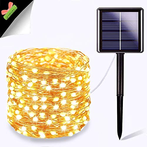 72ft 200LED Solar String Lights Outdoor with Extra Rechargeable-Battery, Waterproof Solar Powered Lights Indoor, Copper Wire 8 Modes Solar Fairy Lights for Wedding Party Christmas Tree