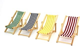 minansostey Beach Striped Chair for 1/12 Wooden Doll House Dollhouse Miniature Furniture DIY Children's Toy