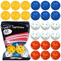 Practice Golf Ball Plastic Hollow Yellow Orange Colored Value 12 Pack, Holes Balls for Kids Driving Range Swing Indoor Home Use (Mixed Color, 12 PCS)