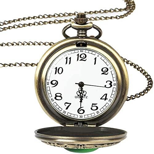 JZDH Reloj de Bolsillo de Bolsillo Reloj de Bolsillo de Cuarzo, Gran Vintage Esmeralda Collar Verde Mujer joyería gótica Moda Retro Ojo