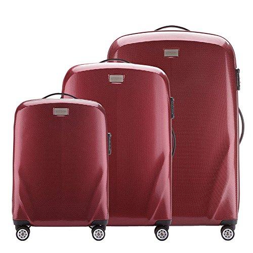 Stabiler Reisekoffer Koffer-Set Trolley von Wittchen Material polycarbonat 4 Lenkrollen Zahlenschloss 11KG Farbe Burgund
