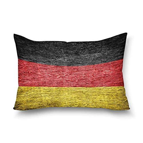 Funda de almohada rectangular de madera vieja pintada con la bandera alemana de Alemania, tamaño Queen 50 x 70 cm, decorativa con cremallera, protector de almohada para decoración del hogar