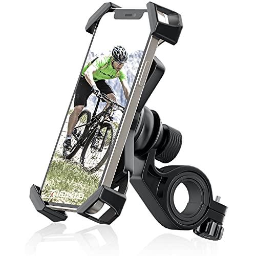 自転車 スマホ ホルダー Tiakia オートバイ バイク スマートフォン 振れ止め 脱落防止 GPSナビ 携帯 固定用 マウント スタンド 防水 に適用 iPhone X XS 8 7 6 6S Plus/HUWEI Mate P20 P10 lite/Xperia android 多機種対応 360度回転 脱着簡単 ステンレス鋼伸縮アーム 耐久性 強力な保護 (ブラック)