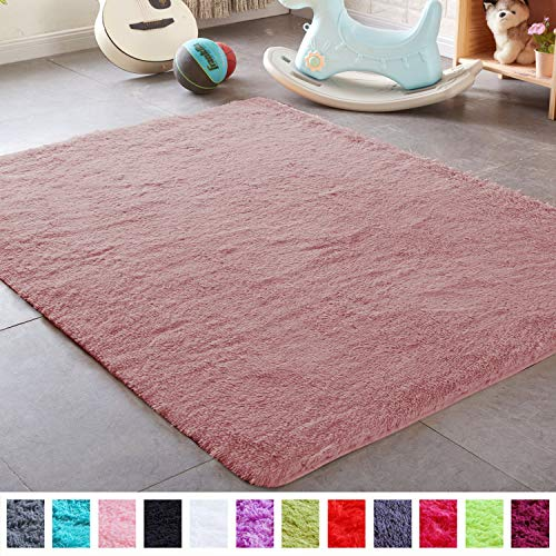 PAGISOFE Shaggy Fluffy Area Rugs Carpets for Baby Nursery Teens Girls Rooms 4x5.3 Feet Plush Fuzzy Shag Rugs for Kids Bedroom Home Room Floor Accent Decor Fur Rug, Blush