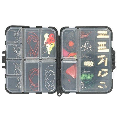 Milepetus Kit de accesorios de pesca para Texas Rig, incluye bala, gancho, cuchara, soporte de ganchos, giratorios a presión, anillo dividido, cuentas, juego de aparejos de pesca con caja de aparejos