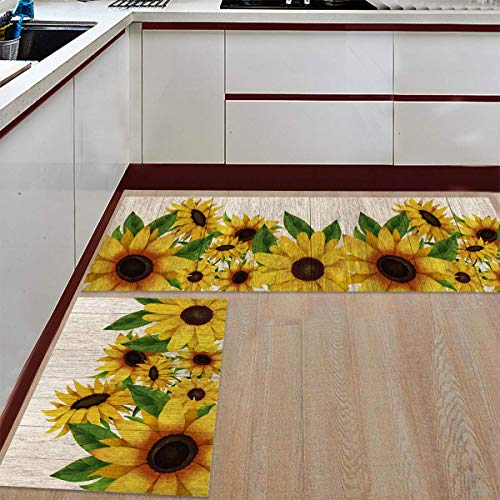 WSHINE 2 Piece Kitchen Mat Floor Mat Bathroom Area Rugs Doormat Runner Rug Set Kitchen Carpet, Sunflowers on Wooden Board