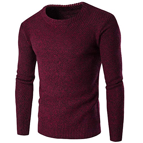 Men's Sweater Men Knitted Sweater Round Neck Long Sleeve Slim Fashion All-Match Men Sweater Autumn and Winter Warm Simple Soft Men Sweater Fashion Men Tops L-Wine Red. M