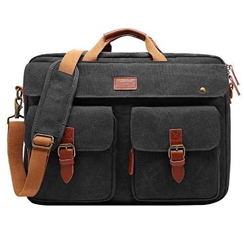 CoolBELL Messenger Bag Herren Umhängetasche Business Aktentasche umwandelbar Laptop Tasche Bag Multifunktions Reise Rucksack Notebook Schultertasche Passend für 17 Zoll Laptop(Canvas Schwarz)