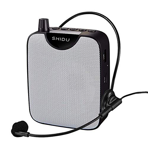 Portable Voice Amplifier Voice Recorder Mini PA System with Wired Headset Microphone, Loud Speakers Support Recording Funtion and U Disk/TF Perfect for Tour Guide, Teaching, Coaching