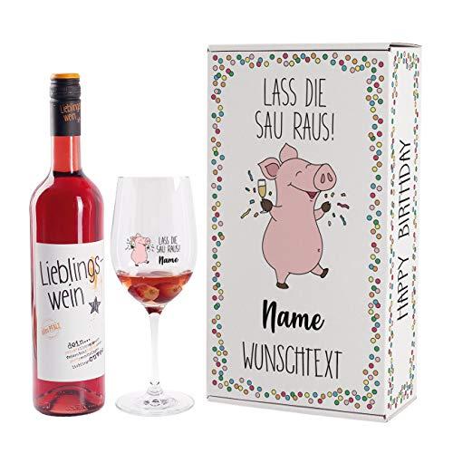 Herz & Heim® Lustiges Party-Geburtstagsgeschenk mit Lieblingswein und bedrucktem Leonardo Weinglas in Geschenkverpackung Lass die Sau raus!