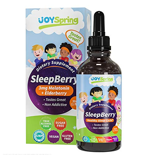 SleepBerry Liquid Melatonin for Kids - Natural Sleep Aid with Elderberry and Vitamin D - Boost Immune System While They Sleep (1 Fl. Oz)