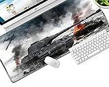 YVQLXJ Alfombrilla de Ratón Gaming Tanque de avión de Guerra Gunsmoke Fibra Extrafina Mouse Pad para Computadora con Base de Goma Antideslizante para Ratón con Cable o Inalámbrico PC/Mac 700x300x3mm