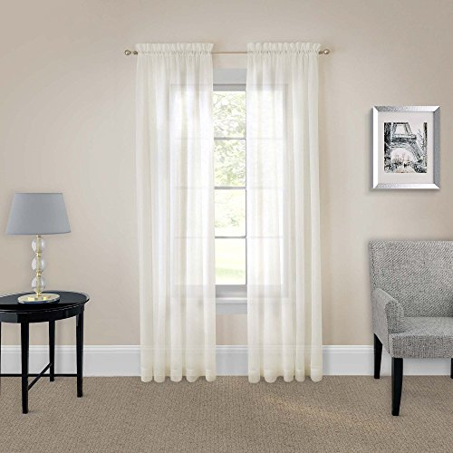 """PAIRS TO GO Victoria Voile 118"""""""" x 84"""" Light Filtering Double Rod Pocket Window Panel Curtain Living Room, 59"""" x 84"""", Ivory"""
