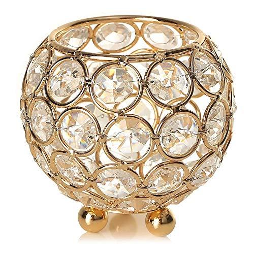 POFET - Portacandele con perline di cristallo votivo, 12 cm, per casa, banchetto, candelabro, centrotavola, colore: Oro