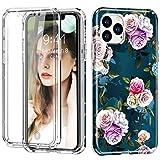 Dmtrab Para iPhone 11 Pro MAX a Prueba de Golpes PC + TPU Funda Protectora Trasera + Protector de Pantalla Delantero para Mascotas (Flor Blanca) (Color : Rose)