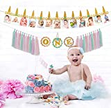 Gold Glitter Unicorn 12 Month Photo Banner for First Birthday, 1st Birthday High Chair Decoration Girl, Unicorn Birthday Decorations for Girls, Handmade Monthly Milestone Tassel Garland Banner for Newborn 1-12 Months First Birthday Decor Unicorn Party Favors Set
