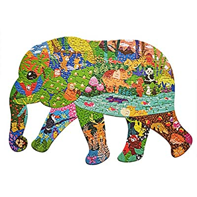 Puzzles for Kids Ages 4-8, 8-10, 10 and Adults - Elephant - 200 Pieces Forest World - Animal Shaped Floor Jigsaw Puzzles (Elephant)
