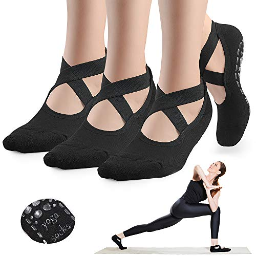 GOAMZ Calcetines de yoga antideslizantes para mujer, con suela de goma, transpirables, ideales para yoga, danza, pilates, fitness, 35-41, Negro + negro + negro.