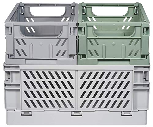 Kindsgut Klappkisten-Set, faltbare Aufbewahrungs-Box aus Kunststoff, mehr Ordnung in dezenten Farben und schlichtem Design, stapelbar, Luis