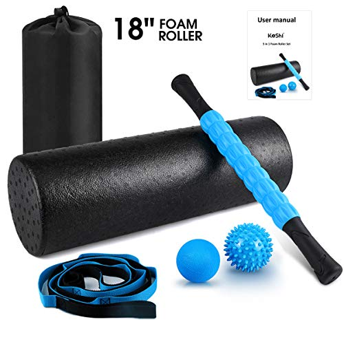 "KeShi Foam Roller Set, 18"" Muscle Foam Roller, 17"" Massage Roller Stick, Spiky Massage Ball, Solid Ball, and Stretching Strap, Perfect for Pain & Tightness Relief Home Gym Set"