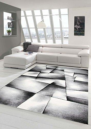 Traum Designer Teppich Moderner Teppich Wohnzimmer Teppich Kurzflor Teppich Konturenschnitt Karo Muster Grau Schwarz Weiss Größe 120x170 cm
