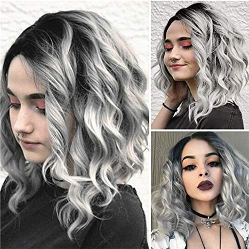 DNOQN Perücken Damen Kurzer Gewellter Bobo Menschliches Haar Rose Net Perücke Glueless Front Perücken Frauen Graue