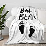 Multi-Styles Baby Bear Paw White Throw Blanket Quilt Bedspread Flannel Ultra Soft Microfiber Luxurious Warm Cozy Bed Camping Couch Home Decor (S 50'X40' Inch for Kid)